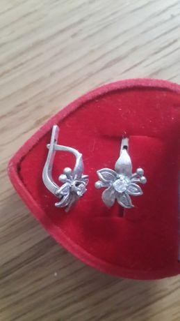 Серьги серебро цирконий Сувениры оникс фарфор