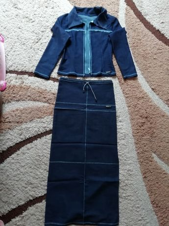 Джинсовый костюм юбка пиджак платье сарафан размер S / 42 / 36