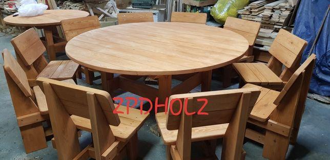 Meble ogrodowe krzesła + okrągły stół śr 200cm ! NOWOŚĆ 2020r