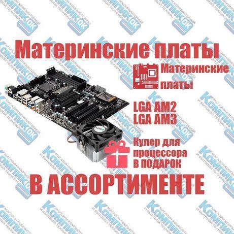 Материнские платы, сокет AM2, AM3, DDR-3, AMD, кулер в подарок