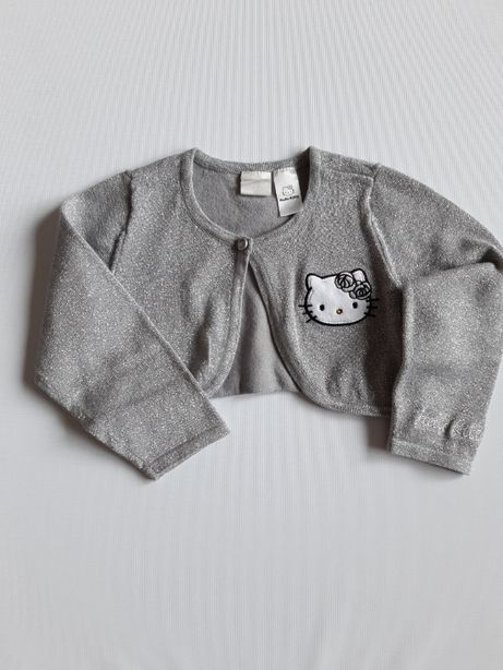 Srebrne bolerko narzutka krótki sweterek H&M 80 Hello Kitty