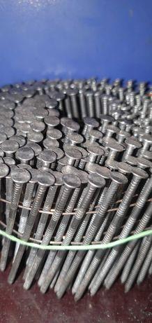 Гвозди кольцевые в бобинах 2.8х78 2.5х55 2.1х37