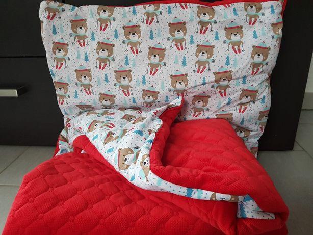Komplet zimowy kocyk i poduszka minky - świąteczny wzór