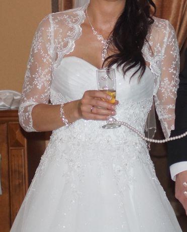 Używane koronkowe bolerko ślubne białe 34/XS w bardzo dobrym stanie