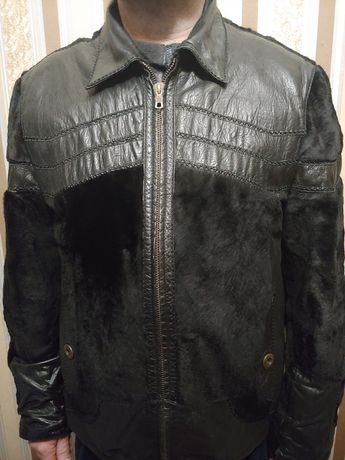 Мужская кожаная куртка с натуральным мехом