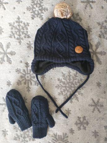 Czapka oraz rękawiczki H&M r.74/80
