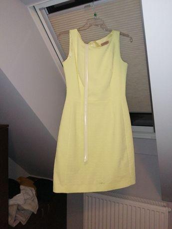 Sprzedam elegancka sukienkę rozmiar 36 kolor lemonkowy strukturalny wz