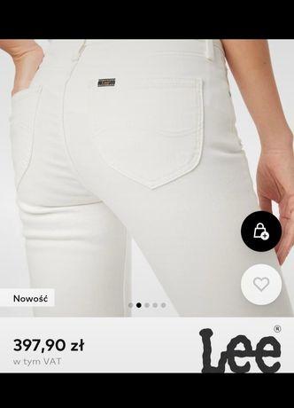 Jeansy rurki Lee białe r. XS