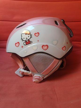 Różowy kask Hello Kitty plus gogle snowboard narty