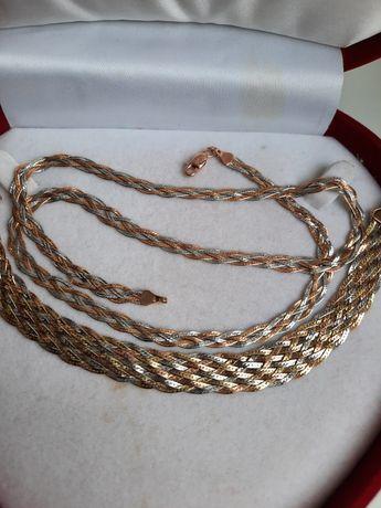 Элегантный золотой набор цепочка с браслетом