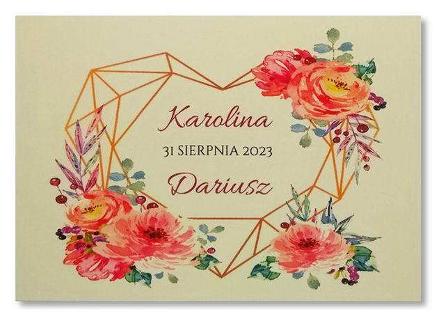 Zaproszenia ślubne geometryczne rustykalne BOHO SERCA kwiaty