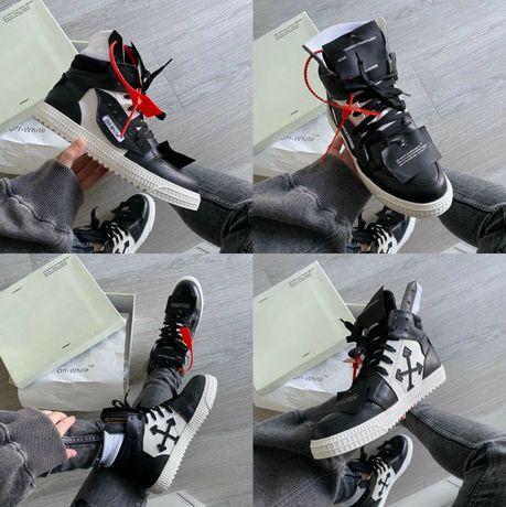 Кроссовки Off-White Low 3.0 Leather High-Top 36-45 Натур Кожа! Наложка