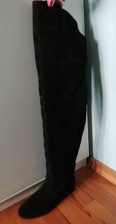 Kozaki muszkieterki koty zamsz skóra 36 Quazi czarne damskie za kolano