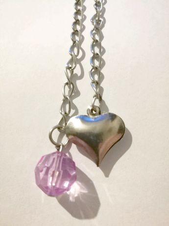 Srebrna bransoletka serce kryształ charms