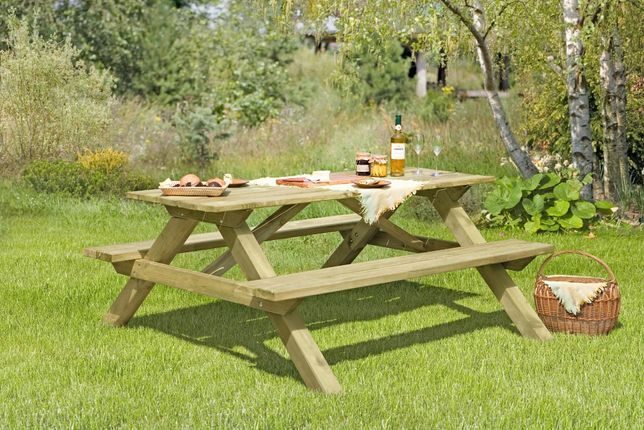 Stolik Piknikowy 180x170x75 Ławo-Stół Ławka Ogrodowa Stół Drewniany
