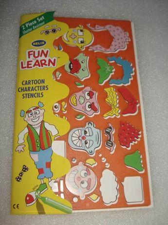 Cartoon Characters Stencils pra Criança, aprender a pintar.