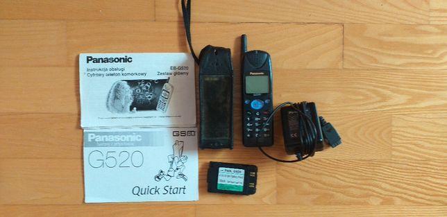 Telefon GSM Panasonic G520 z ładowarką, 2 akumulatorami i instrukcjami