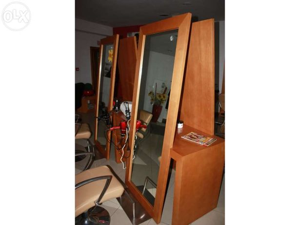 Bancada de corte para cabeleireiro módulo de 2 espelhos