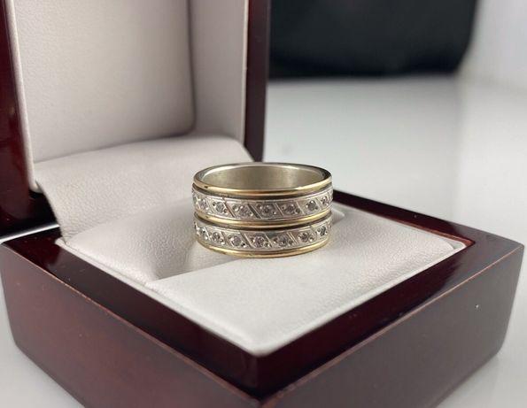Pierścionek - obrączka OBROTOWA, wzór PIAGET srebro/złoto PR. 585 r.17