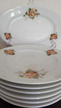 Serwis, talerze do ciast 1+6, porcelana Ćmielów