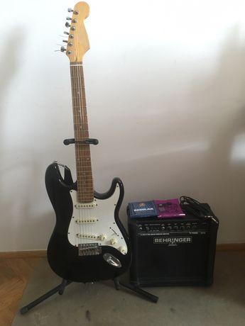 Zestaw: gitara elektryczna i piecyk/wzmacniacz gitarowy + dodatki