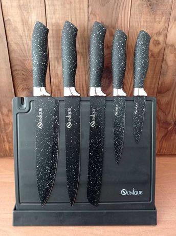 Набор кухонных ножей с точилкой unique un-1841 на подставке