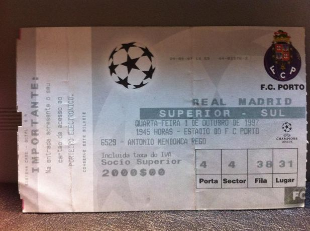 Bilhete de Futebol FC Porto vs Real Madrid