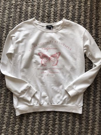 Biała bluza MANGO z motyle bawełna rozm M