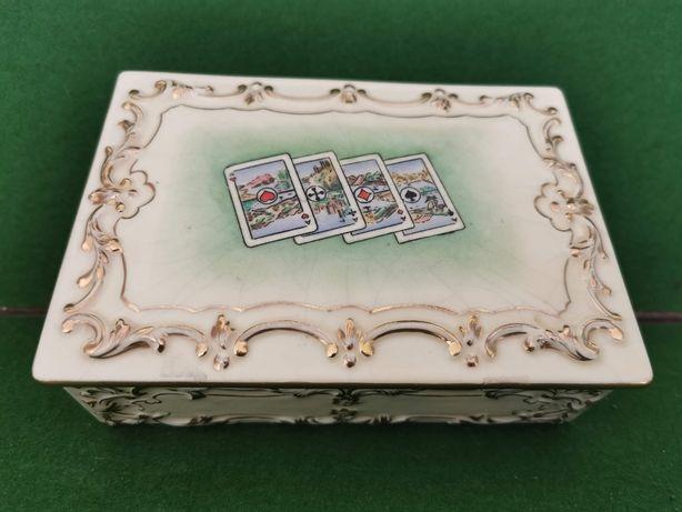 Caixa para 2 baralhos de cartas em cerâmica da fábrica Aleluia (Aveiro