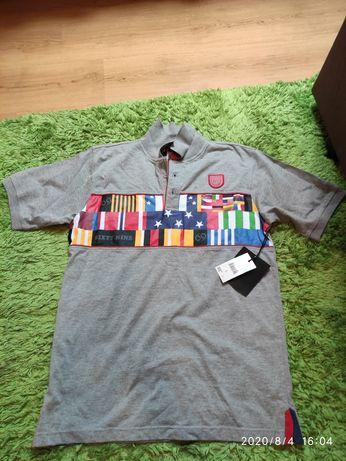 Sixty nine NYC 69 L limitowana koszulka polo skate męska szara flagi