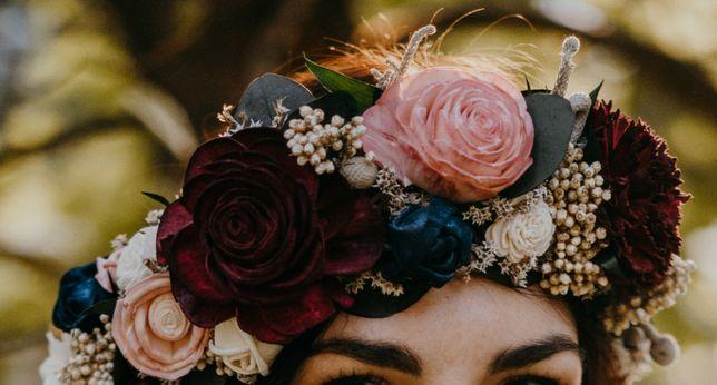Wianek ślubny boho z suszonych roślin i kwiatów sola