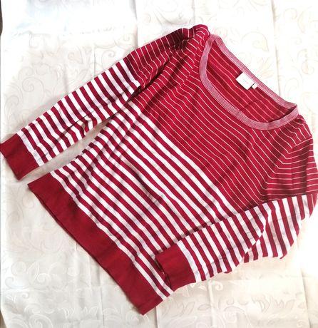 Bluzka w paski  biało czerwony duży dekolt XL