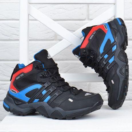 Термо кросівки шкіряні Adidas Gore Tex Terrex чорні з синім і червоним