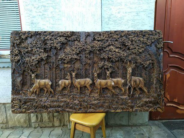 Панно картина з дерева різьба по дереву охота полювання резьба