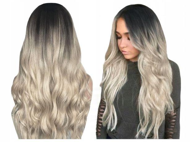 Peruka OMBRE brąz blond długie włosy fale