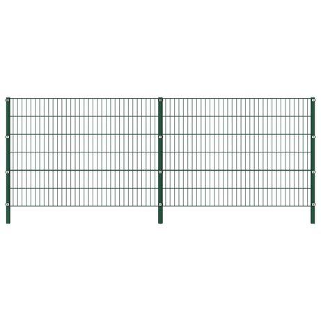 vidaXL Painel de vedação com postes ferro 3,4x1,2 m verde 278662