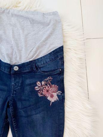 Spodnie jeansy dżinsy rurki granatowe ciąża haft kwiaty skinny L 40