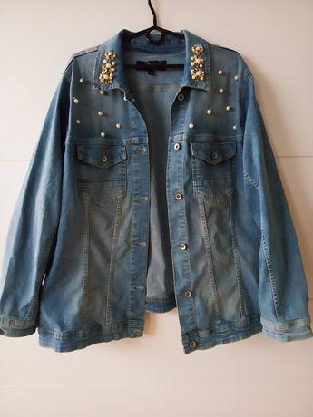 Kurtka jeansowa z perełkami 48 50 52