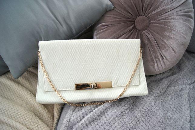 biała biala kremowa złota elegancka kopertówka na wesele torebka nieA4