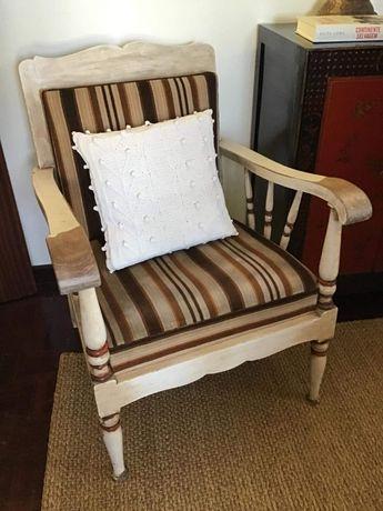 Cadeirão Sofá Cadeira Decapê Vintage Madeira Maciça Decoração