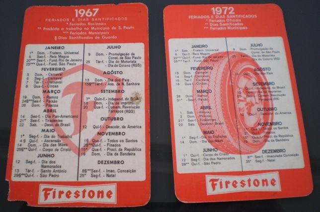 Calendários Década 60 e 70 Firestone Pneus Chevrolet General Motor
