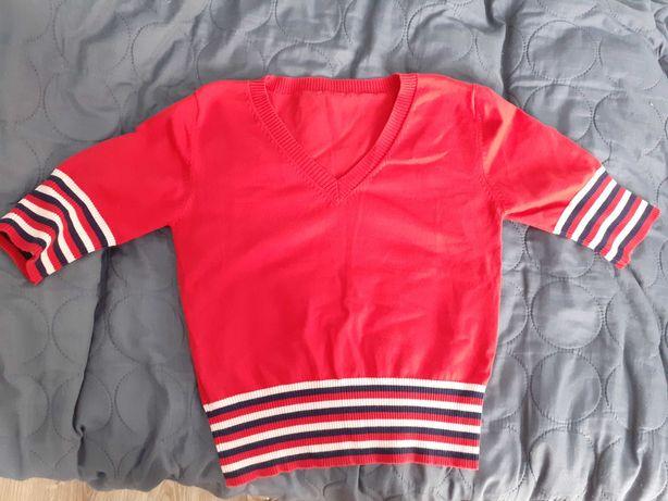 Sweterek, sportowy, czerwony, 164