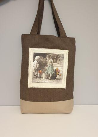 Torba materiałowa, shopperka, torba na zakupy, decoupage, prezent