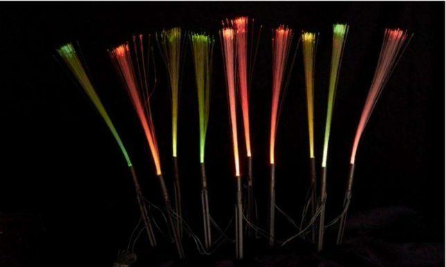 NOWY super zestaw 10 Lampek solarnych światłowodów wielokolorowych