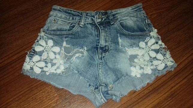 Szorty z koronką i jeansy XS