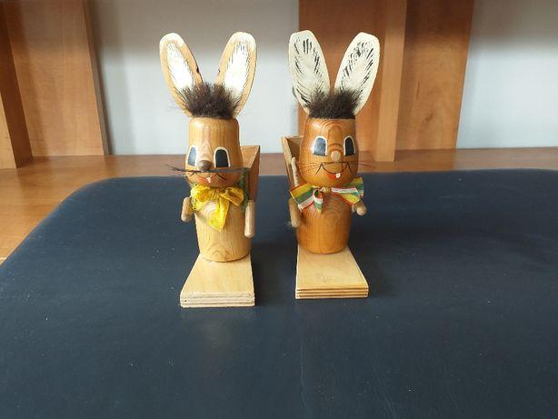 Zajączki Drewniane wys 20 cm ozdoby figurki