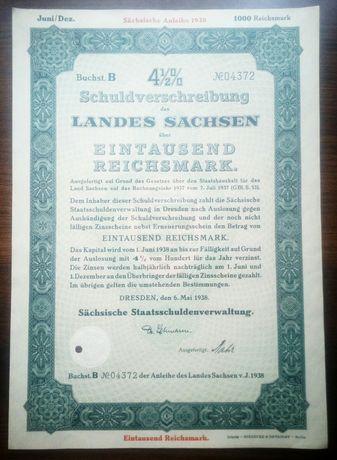 Obligacja 1938 rok Niemcy.