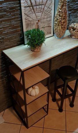 Loft szkło regał industrialny stolik ława design