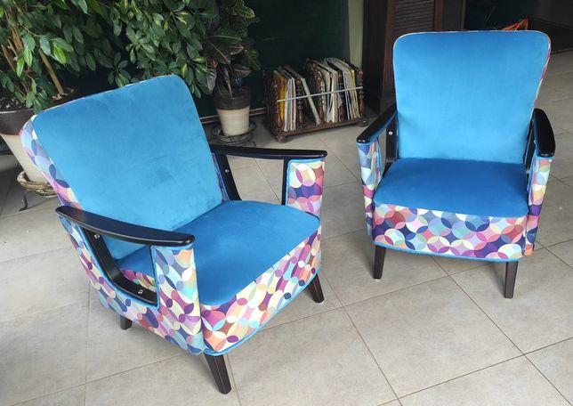 Fotele PRL lata 60 po renowacji, nowoczesny design