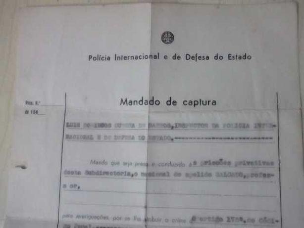Único P.I.D.E Mandado CAPTURA 1952 DOCUMENTOS PRISÃO 1944 MilitantePCP
